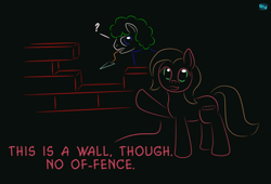 Size: 750x510 | Tagged: safe, artist:quint-t-w, oc, oc only, oc:lemming pony, oc:pun, earth pony, pony, brick, brick wall, dialogue, gradient background, looking at you, minimalist, modern art, mouth hold, old art, pun, question mark, wall