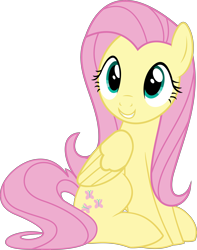 Size: 3940x5000   Tagged: safe, artist:slb94, fluttershy, pegasus, pony, cute, female, grin, mare, shyabetes, simple background, sitting, smiling, solo, transparent background, vector