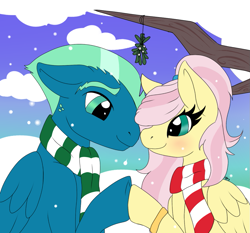 Size: 1039x969   Tagged: safe, artist:mercyamour, fluttershy, sky stinger, pegasus, pony, blushing, christmas, clothes, couple, eyebrows, female, fluttersky, folded wings, holding hooves, holiday, husband and wife, in love, looking at each other, male, mistletoe, ring, scarf, shipping, snow, snowfall, tree branch, wedding ring, wings