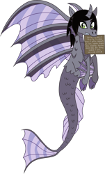 Size: 2231x3684 | Tagged: safe, artist:lightningbolt, derpibooru exclusive, siren, .svg available, cloven hooves, curved horn, fangs, fins, fish tail, happy, horn, implied equestria girls, implied interspecies, kellin quinn, looking at you, male, mouth hold, ponified, pony shaming, scales, sign, simple background, sleeping with sirens, slit eyes, solo, svg, tilde, transparent background, vector
