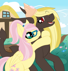Size: 1189x1232 | Tagged: safe, artist:mercyamour, fluttershy, oc, oc:somebodyaswell, original species, pegasus, shark, shark pony, chubby, cloud, crown, cutie mark, folded wings, freckles, glasses, hug, hug from behind, jewelry, looking at each other, looking back, oc and canon, ponyville, regalia, shark tail, sharp teeth, shipping, teeth, wings