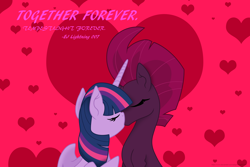 Size: 3000x2000 | Tagged: safe, artist:ejlightning007arts, tempest shadow, twilight sparkle, alicorn, unicorn, eyes closed, female, heart, hearts and hooves day, holiday, kissing, lesbian, shipping, tempestlight, together forever, twilight sparkle (alicorn), valentine's day