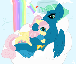 Size: 1498x1275 | Tagged: safe, artist:mercyamour, fluttershy, sky stinger, pegasus, pony, clothes, cloud, cloudsdale, cuddling, cutie mark, eyebrows, female, fluttersky, freckles, glasses, holding each other, hoodie, husband and wife, looking at each other, male, on a cloud, shipping, sitting, sitting on cloud, socks, spread wings, wings