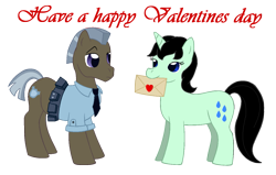 Size: 1193x758 | Tagged: safe, artist:chili19, oc, oc:rainy drops, earth pony, pony, unicorn, female, heart, letter, male, mare, mouth hold, necktie, police officer, simple background, stallion, text, transparent background