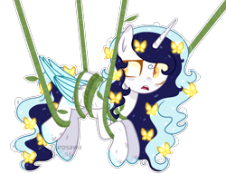 Size: 2410x1848   Tagged: safe, artist:kurosawakuro, oc, oc:roxy lovli pop, alicorn, pony, alicorn oc, female, mare, simple background, solo, transparent background, vine