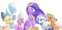 Size: 1290x628 | Tagged: safe, artist:raikoh, applejack, fluttershy, pinkie pie, rainbow dash, rarity, twilight sparkle, alicorn, earth pony, pegasus, pony, unicorn, the last problem, spoiler:s09e26, clothes, cowboy hat, elderly, female, hat, immortality blues, mane six, mare, older, older applejack, older fluttershy, older pinkie pie, older rainbow dash, older rarity, older twilight, princess twilight 2.0, scarf, simple background, this will end in death, this will end in tears, this will end in tears and/or death, twilight sparkle (alicorn), white background