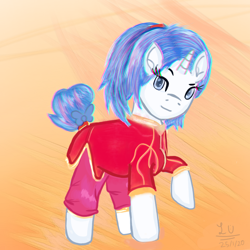 Size: 768x768 | Tagged: safe, artist:legionsunite, oc, oc:magenta pulse, unicorn, alternate hairstyle, chinese new year, clothes, simple background, solo