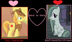 Size: 1024x602 | Tagged: safe, artist:themexicanpunisher, edit, edited screencap, screencap, braeburn, marble pie, hearthbreakers, over a barrel, braeble, female, male, shipping, shipping domino, straight