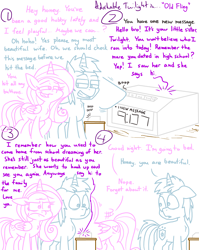 Size: 4779x6013 | Tagged: safe, artist:adorkabletwilightandfriends, princess cadance, shining armor, twilight sparkle, alicorn, pony, unicorn, comic:adorkable twilight and friends, adorkable, adorkable twilight, angry, answering machine, bad timing, bedroom eyes, clock, comic, cute, dating, dork, drama in the comments, female, flirt, flirting, flirty, humor, husband, husband and wife, inconvenient twilight, love, male, message, mood whiplash, old fling, romance, slice of life, twilight sparkle is a goddamned moron, upset, wife