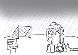 Size: 816x571 | Tagged: safe, artist:jargon scott, pinkie pie, earth pony, pony, ball, female, football, mare, rain, simple background, simpsons did it, soccer field, solo, sports, white background