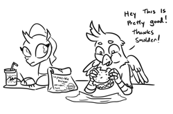 Size: 913x603 | Tagged: safe, artist:jargon scott, gallus, ocellus, changedling, changeling, griffon, burger, dialogue, female, food, gallabuse, imminent feminization, implied smolder, impossible burger, male, monochrome, simple background, this will end just fine, this will not end well, white background