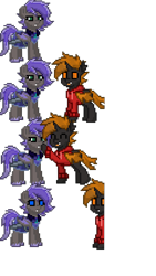 Size: 1440x2560 | Tagged: safe, oc:autumn, oc:moonpaste, bat pony, changeling, pony, pony town, cute, orange changeling