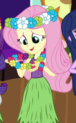 Size: 346x563 | Tagged: safe, screencap, fluttershy, rarity, twilight sparkle, equestria girls, shake your tail, cropped, cute, hula, hulashy, shyabetes