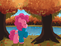 Size: 1400x1050 | Tagged: safe, artist:otakunekojosei, pinkie pie, earth pony, pony, autumn, clothes, cute, diapinkes, eyes closed, female, forest, lake, leaves, mare, nature, outdoors, pond, profile, raised hoof, river, smiling, solo, sweater, tree, turtleneck, water