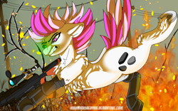 Size: 1920x1200 | Tagged: safe, artist:brainiac, oc, oc only, oc:hired gun, fallout equestria, fallout equestria: heroes, amputee, chest fluff, cyber legs, fanfic art, gun, prosthetic leg, prosthetic limb, prosthetics, solo, weapon