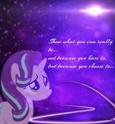 Size: 1262x1367   Tagged: safe, artist:z3bradan, starlight glimmer, unicorn, female, galaxy, lens flare, mare, neon, purple, purple background, quote, simple background, solo, stars, wallpaper