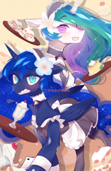 Size: 1242x1920 | Tagged: safe, artist:friskyfrisks, princess celestia, princess luna, alicorn, pony, blushing, bow, cake, choker, clothes, cuffs (clothes), cute, cutelestia, daaaaaaaaaaaw, dessert, dress, duo, female, flower, flower in hair, food, lunabetes, maid, mare, milkshake, open mouth, royal sisters, sweat, sweatdrop
