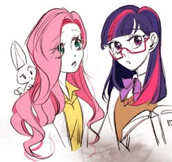 Size: 960x908 | Tagged: safe, artist:ssseolyn02, angel bunny, fluttershy, twilight sparkle, human, rabbit, animal, bust, cute, duo, eye clipping through hair, glasses, humanized, open mouth, shyabetes, sweater vest, twiabetes