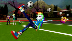 Size: 1280x720 | Tagged: safe, artist:migueruchan, derpy hooves, rainbow dash, human, equestria girls, equestria girls series, 3d, ball, barely eqg related, cheering, crossover, football, gmod, kicking, nintendo, soccer field, sports, super mario bros., waluigi, wario