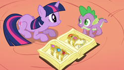 Size: 2880x1620 | Tagged: safe, screencap, spike, twilight sparkle, dragon, pony, unicorn, the return of harmony, all fours, big crown thingy, book, cute, duo, element of generosity, element of honesty, element of kindness, element of laughter, element of loyalty, element of magic, elements of harmony, female, jewelry, looking at each other, male, mare, prone, quadrupedal spike, regalia, spikabetes, twiabetes, unicorn twilight