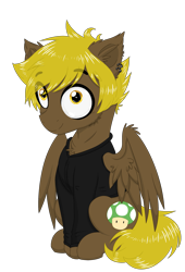 Size: 2039x3000 | Tagged: safe, artist:darkest-lunar-flower, oc, oc only, oc:bricomaniaco, pegasus, pony, 2020 community collab, derpibooru community collaboration, clothes, ear piercing, earring, eye clipping through hair, hoodie, jewelry, looking at you, male, piercing, simple background, sitting, smiling, solo, stallion, transparent background