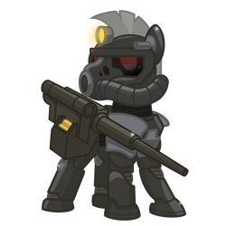 Size: 2500x2500   Tagged: safe, artist:pizzamovies, oc, oc only, oc:steelhooves, earth pony, ghoul, pony, undead, 2020 community collab, derpibooru community collaboration, fallout equestria, armor, cannon, fallout, fanfic, fanfic art, glowing eyes, gun, hooves, male, power armor, show accurate, simple background, solo, stallion, steel ranger, transparent background, weapon