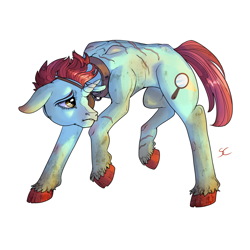 Size: 3000x3000 | Tagged: safe, artist:sourcherry, oc, oc:doll eyes, pony, unicorn, fallout equestria, dirty, eyepatch, no clothes, scar, scared, short mane, slave, slave collar, solo, wasteland ventures