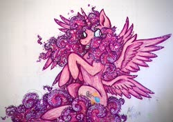 Size: 2174x1535 | Tagged: safe, artist:pyro-millie, pinkie pie, alicorn, seraph, seraphicorn, the ending of the end, alicornified, cutie mark, ethereal mane, grin, multiple wings, pinkiecorn, race swap, raised hoof, redesign, smiling, solo, spread wings, traditional art, wings, xk-class end-of-the-world scenario
