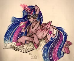 Size: 2048x1686   Tagged: safe, artist:pyro-millie, twilight sparkle, alicorn, pony, spoiler:s09e26, alcohol, book, chest fluff, colored hooves, curved horn, cutie mark, ethereal mane, female, glass, glasses, glowing horn, grin, horn, magic, mare, princess twilight 2.0, prone, reading, redesign, smiling, solo, starry mane, telekinesis, traditional art, twilight sparkle (alicorn), unshorn fetlocks, wine