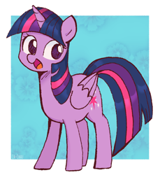 Size: 1098x1200 | Tagged: safe, artist:ch-chau, twilight sparkle, alicorn, pony, abstract background, cute, female, mare, no pupils, open mouth, solo, twiabetes, twilight sparkle (alicorn)