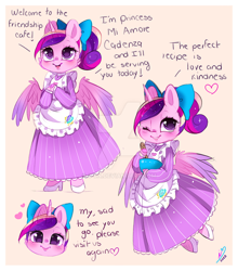 Size: 900x1025 | Tagged: safe, artist:ipun, princess cadance, alicorn, anthro, unguligrade anthro, arm hooves, bow, bowl, cheek fluff, chibi, clothes, cute, cutedance, deviantart watermark, dialogue, dress, female, friendship cafe, hair bow, maid, mare, obtrusive watermark, one eye closed, ponytail, simple background, solo, teen princess cadance, watermark, wink