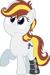 Size: 1657x2512   Tagged: safe, artist:dtcx97, oc, oc only, oc:rocket booster, earth pony, pony, 2020 community collab, derpibooru community collaboration, female, filly, leg brace, raised hoof, simple background, smiling, solo, transparent background