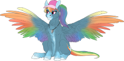 Size: 3961x1965 | Tagged: safe, artist:loladotz, rainbow dash, pony, alternate design, backwards cutie mark, cap, colored wings, hat, multicolored wings, rainbow wings, solo, whistle, wings
