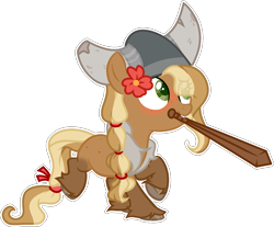 Size: 1709x1415 | Tagged: safe, artist:rerorir, oc, oc:manyunya, earth pony, pony, female, filly, helmet, horned helmet, mouth hold, simple background, solo, transparent background, wooden sword