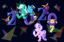 Size: 1900x1253 | Tagged: safe, artist:magerblutooth, diamond tiara, filthy rich, oc, oc:aunt spoiled, oc:dazzle, oc:handy dandy, oc:il, oc:peal, cat, earth pony, imp, pony, comic:diamond and dazzle, 2020, happy new year, happy new year 2020, holiday