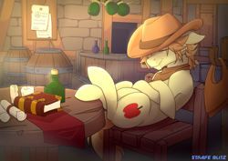 Size: 1792x1266 | Tagged: safe, artist:strafe blitz, braeburn, earth pony, pony, barrel, book, bottle, candle, chair, male, scroll, sleeping, solo, stallion, table