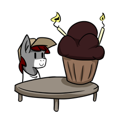 Size: 1920x1920 | Tagged: safe, artist:khaki-cap, oc, oc:khaki-cap, birthday cake, birthday cupcake, cake, collaboration, earth pony oc, food, happy birthday, mega cupcake, simple, smiling