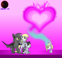 Size: 3059x2865 | Tagged: safe, artist:darktailsko, derpy hooves, dinky hooves, oc, oc:fireworks shadow, oc:silver shadow, bat pony, pony, unicorn, vampire, canon x oc, family, female, foal, gift art, handstand, male, mare, offspring, parent:derpy hooves, parent:oc:silver shadow, parents:canon x oc, shipping, silvergunner, stallion, straight, upside down