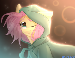 Size: 2784x2160 | Tagged: safe, artist:strafe blitz, fluttershy, pegasus, pony, cape, clothes, cute, ear down, female, high res, hoodie, mare, one eye closed, shyabetes, solo