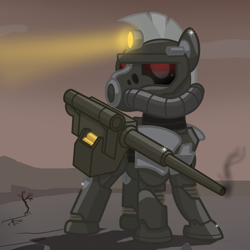 Size: 2500x2500   Tagged: safe, artist:pizzamovies, oc, oc only, oc:steelhooves, ghoul, pony, undead, fallout equestria, armor, cannon, fallout, glowing eyes, gun, male, power armor, solo, stallion, steel ranger, wasteland, weapon