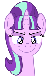 Size: 886x1322 | Tagged: safe, artist:culu-bluebeaver, starlight glimmer, pony, unicorn, comic:the newcomer, bust, png, s5 starlight, simple background, smiling, solo, transparent background