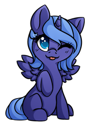 Size: 1280x1792 | Tagged: safe, artist:honiibree, princess luna, alicorn, pony, :p, colored pupils, cute, female, filly, lunabetes, one eye closed, simple background, sitting, solo, tongue out, transparent background, wink, woona, younger