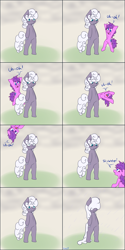 Size: 1811x3621 | Tagged: safe, artist:skoon, oc, oc only, oc:alabaster, oc:stir crazy, earth pony, unicorn, comic, humor, rain, uh oh