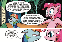 Size: 775x522 | Tagged: safe, artist:andypriceart, idw, pinkie pie, rainbow dash, pony, reflections, spoiler:comic, spoiler:comic19, comic, cropped, duo, female, mare, narrowed eyes, official comic, smiling, speech bubble
