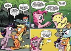 Size: 937x673   Tagged: safe, artist:andypriceart, idw, applejack, fluttershy, king sombra, pinkie pie, rainbow dash, rarity, spike, twilight sparkle, alicorn, earth pony, pegasus, pony, unicorn, reflections, spoiler:comic, spoiler:comic20, applejack is not amused, comic, cropped, female, good king sombra, grin, king sombra is not amused, male, mane seven, mane six, mare, nervous, nervous grin, official comic, rainbow dash is not amused, rarity is not amused, smiling, speech bubble, spike is not amused, stallion, twilight is not amused, twilight sparkle (alicorn), unamused, yay