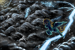 Size: 3500x2333 | Tagged: safe, artist:com3tfire, lightning dust, pegasus, pony, cloud, crepuscular rays, female, flying, lightning, mare, mountain, snow, solo, storm, thunderstorm