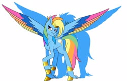 Size: 2048x1331 | Tagged: safe, artist:spaded aces, rainbow dash, pegasus, pony, leak, spoiler:g5, accessories, badass, bracer, colored wings, female, g5, jewelry, multicolored wings, rainbow dash (g5), rainbow wings, redesign, simple background, solo, spread wings, tiara, wings