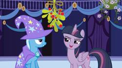 Size: 1920x1080 | Tagged: safe, edit, mean twilight sparkle, trixie, pony, friendship is magic, the mean 6, christmas, female, holiday, lesbian, mean twixie, mistleholly, shipping, town hall, twixie