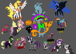 Size: 3550x2528 | Tagged: artist needed, safe, apple bloom, applejack, daybreaker, discord, fluttershy, nightmare moon, pinkie pie, princess celestia, princess luna, rainbow dash, rarity, scootaloo, spike, sweetie belle, twilight sparkle, alicorn, draconequus, earth pony, ghost, pegasus, pony, unicorn, vampire, black and white, blood, bone, clothes, colorized, costume, costumed ponies, creepypasta, cutie mark crusaders, flutterbat costume, frankenstine, ghost discord, grayscale, halloween, holiday, horror, mane six, monochrome, nightmare night, parody, pinkemina, pinkemina cupcakes character, pinkemina diane pie, pumpkin, scary, shadow bolt, shadow bolt costume, skeleton, skull, sweetie belle vampire costume, themed, twilight sparkle (alicorn), vampire costume, witch, witch costume