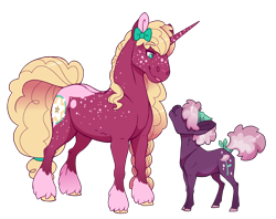 Size: 3280x2600 | Tagged: safe, artist:jackiebloom, oc, oc:ambrosia apple, oc:crystal corolla, earth pony, pony, unicorn, brother and sister, female, half-siblings, magical lesbian spawn, male, mare, offspring, parent:big macintosh, parent:cheerilee, parent:sugar belle, parents:sugarlee, parents:sugarmac, realistic horse legs, siblings, simple background, size difference, socks (coat marking), stallion, transgender, transparent background